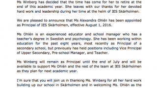Ms Winberg has decided to retire....